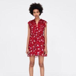 ZARA Ruffled Floral Print Dress